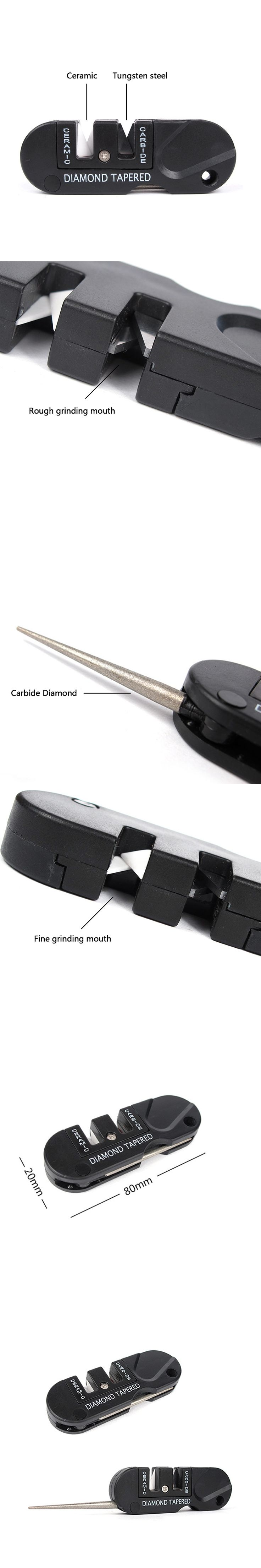 Easy Carry Three Stages Ceramic Carbide Diamond Knife Sharpener Pocket Outdoor EDC Tool Fish Hook Professional Sharpening Stone