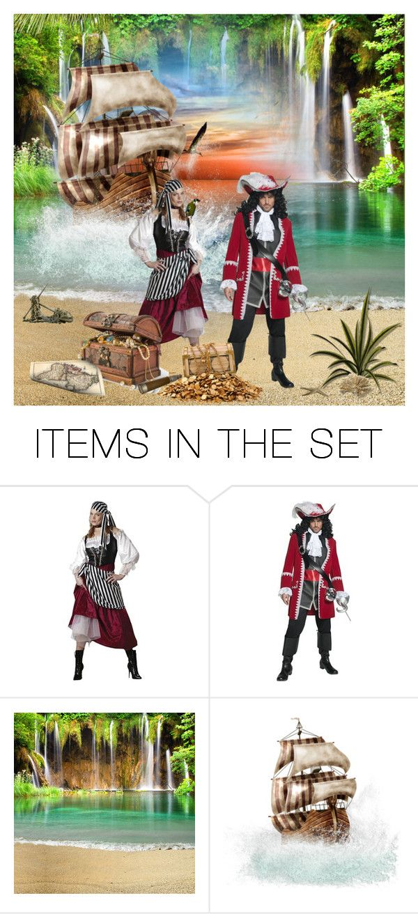 """Captain Hook and his pirate Queen, Mrs. Smee Hook"" by jonna-hansen ❤ liked on Polyvore featuring art"