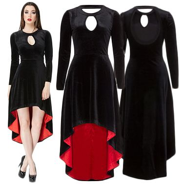 Jawbreaker Immortal Gothic Dress.  The Immortal Black Velvet Dress comes with Red Satin Lining. There's something very very special about this Dress. Often featured in magazines, a hit with Photographers and Alternative Models worldwide.