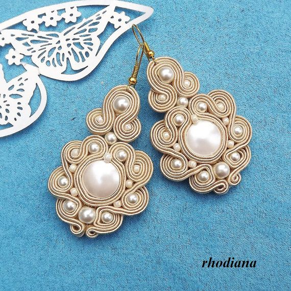 Creamy Pearl Seashell  Soutache earrings by RhodianaSoutache