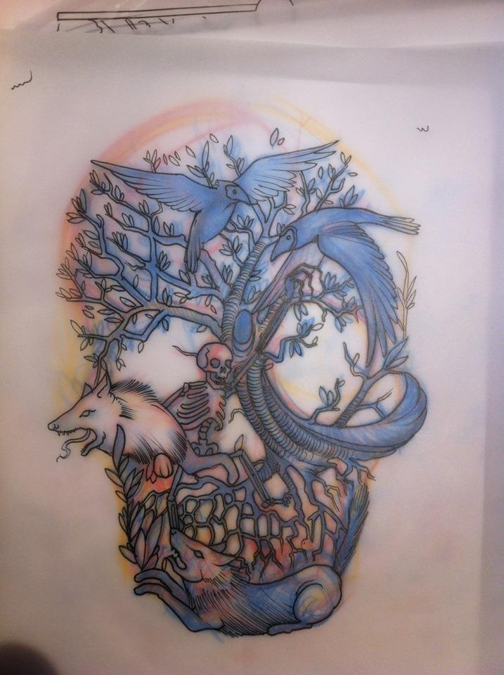Animal sugar skull tattoo - photo#9