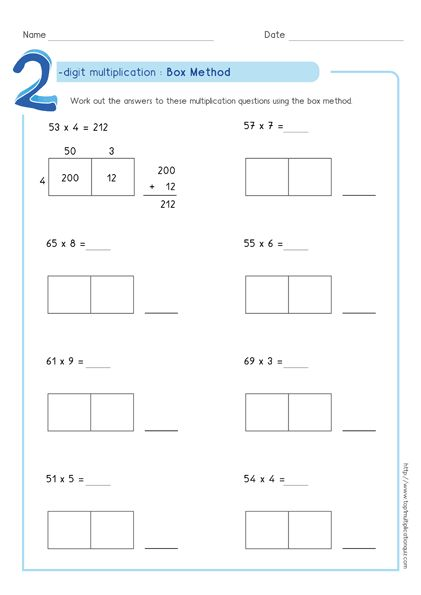 Box Method Multiplication 2 Digit Numbers Worksheets Pdf