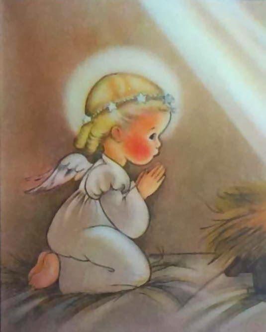 Christmas Angel ~ Vintage Christmas Card. Artist: Eva Harta (1914-1997)