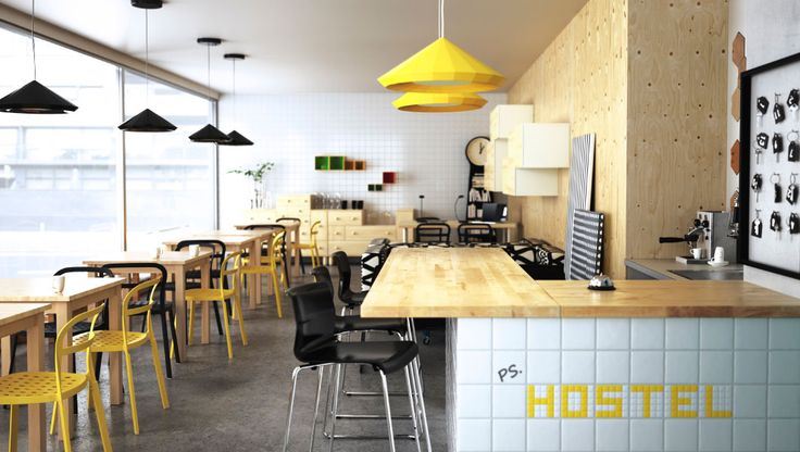 Hostel hang out with bar, bar stools and birch tables with black and yellow chairs