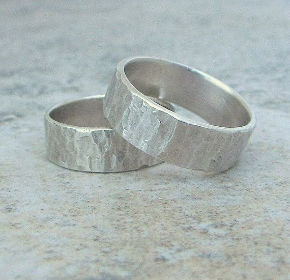 Wedding Rings Silver Wedding Bands Hammered Silver by SilverSmack, $148.00