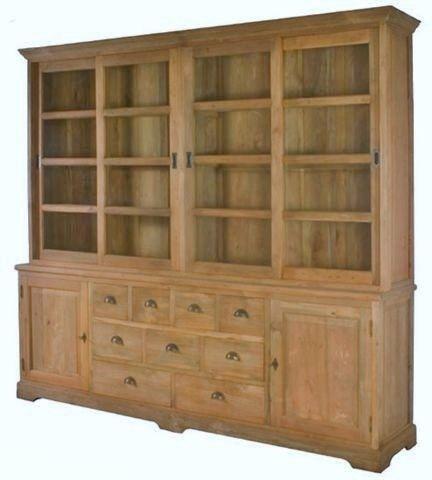 TEAK BUFFET SCHRANK 250x230 Shop Cabinet Teakholz massiv antik Schrankwand de.picclick.com
