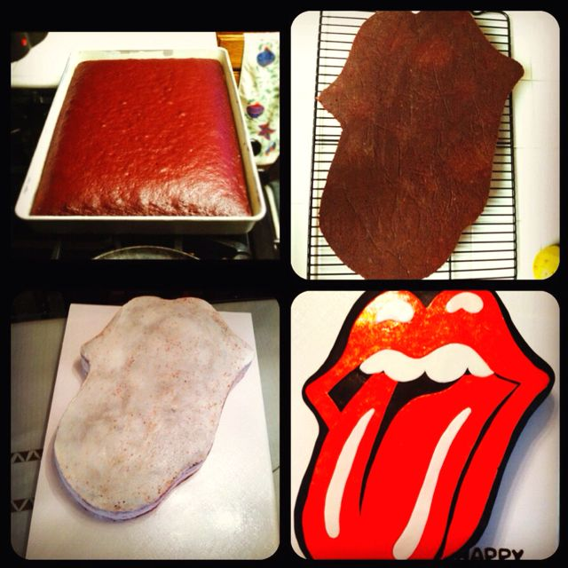 Easy Rolling Stones cake cutout :)