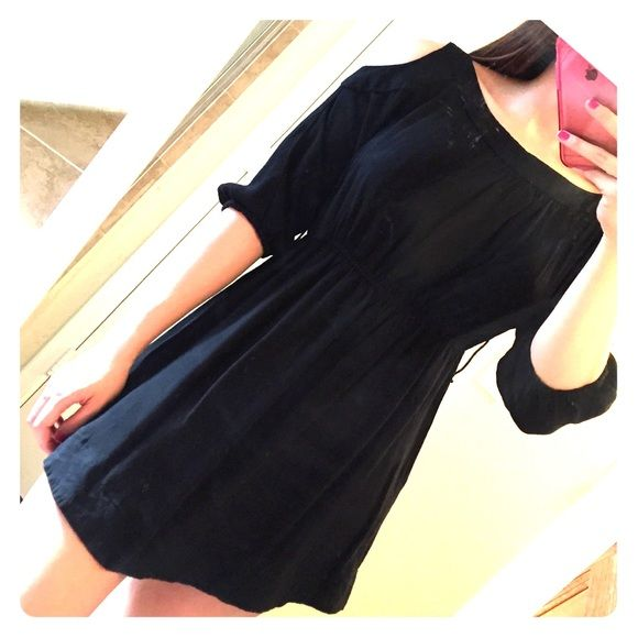 Black cold shoulder dress Gauze-y type material. Synced at the ends of sleeves and also at natural waist line Dresses
