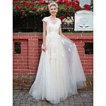 Lanting Bride® A-linje Petite Plusstorlekar Brudklänning - Klassisk och tidlös Chic och modern Hovsläp V-hals Chiffong med Spets 2017 - Kr.1218