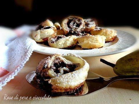 Rose di sfoglia con pere e cioccolato, per la ricetta dettagliata cliccate sul seguente link: http://blog.cookaround.com/lamimosarosa/rose-di-sfoglia-con-pere-e-cioccolato/