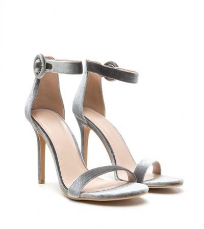 Sandale din catifea cu bareta pe glezna elegante argintii