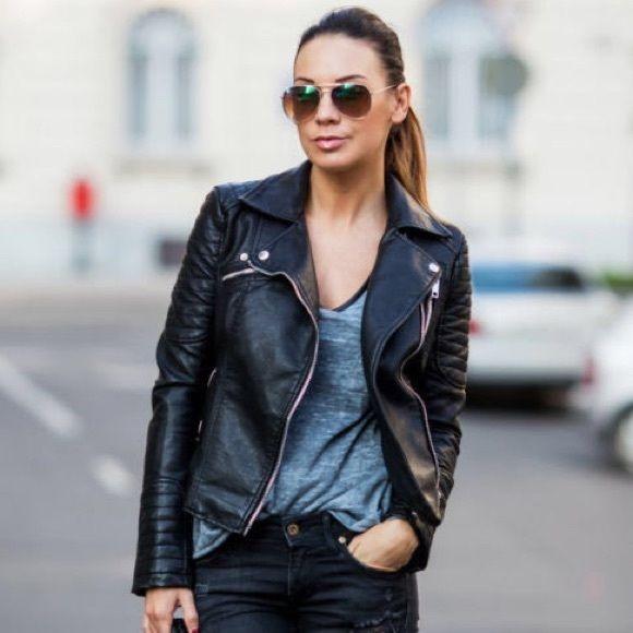 Zara Motorcycle Leather Jacket Hardware Leather Jackets