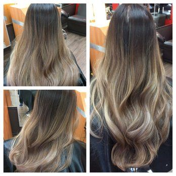 Ash,tone Balayage ombre on asian hair.