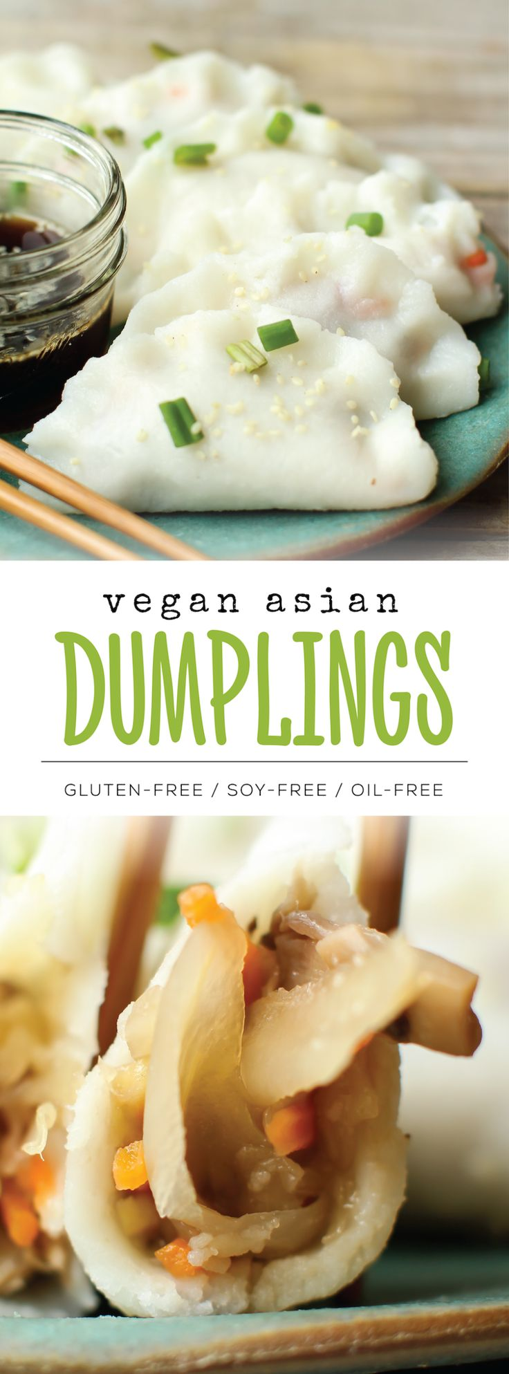 Veggie dumplings (or potstickers) with an egg-free and gluten-free 4 ingredient wrapper! Customize with your favorite fillings for an easy Asian meal at home...