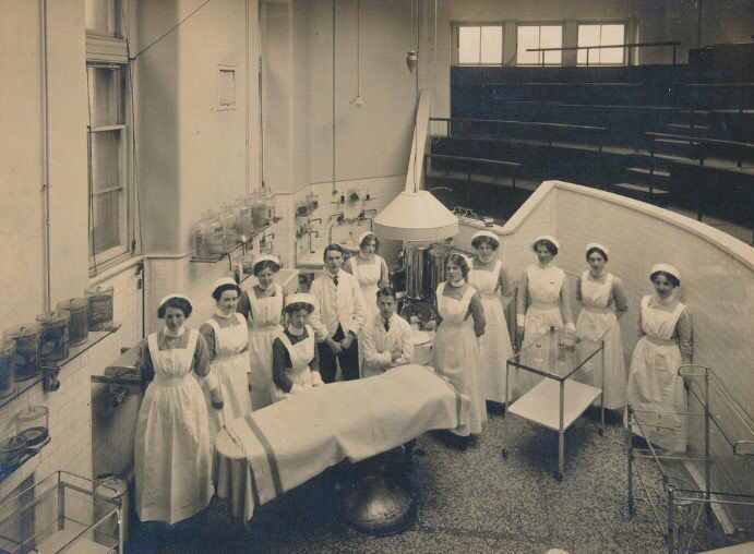 The #surgical #nurses at the Edinburgh Royal Infirmary at the turn of the century - the outfits may have changed but the work ethic and dedication to the job has not!