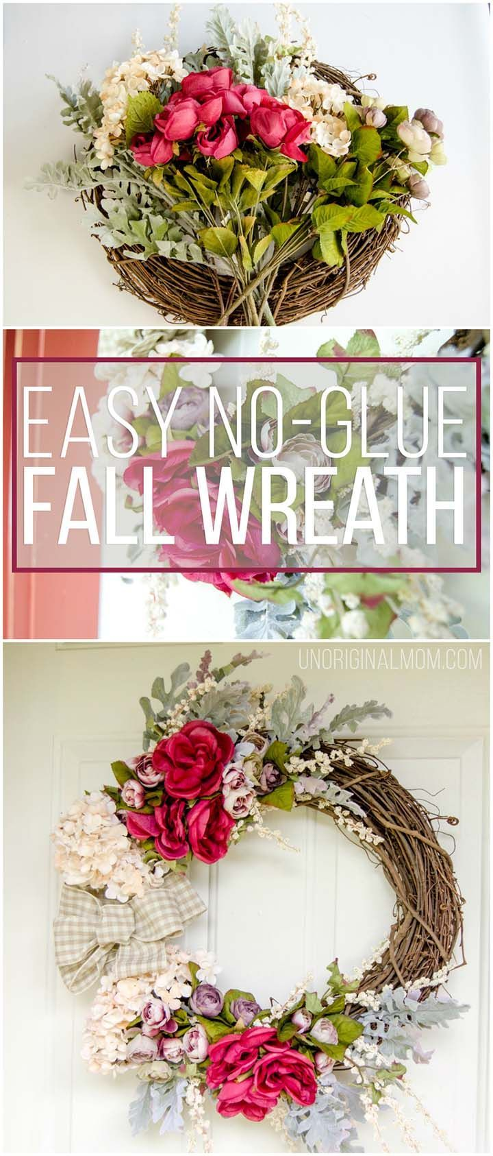 Create your own beautiful fall wreath in less than 30 minutes - you don't even have to use glue! | no-glue wreath tutorial | fall wreath | neutral fall wreath | fall front porch #fallwreath