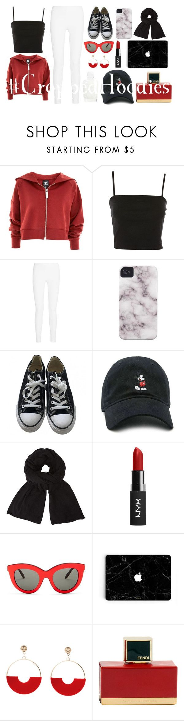 """""""Cropped Hoodies 9"""" by sophia-sherro ❤ liked on Polyvore featuring Ivy Park, Topshop, Joseph, Converse, Forever 21, John Lewis, Victoria Beckham and Fendi"""
