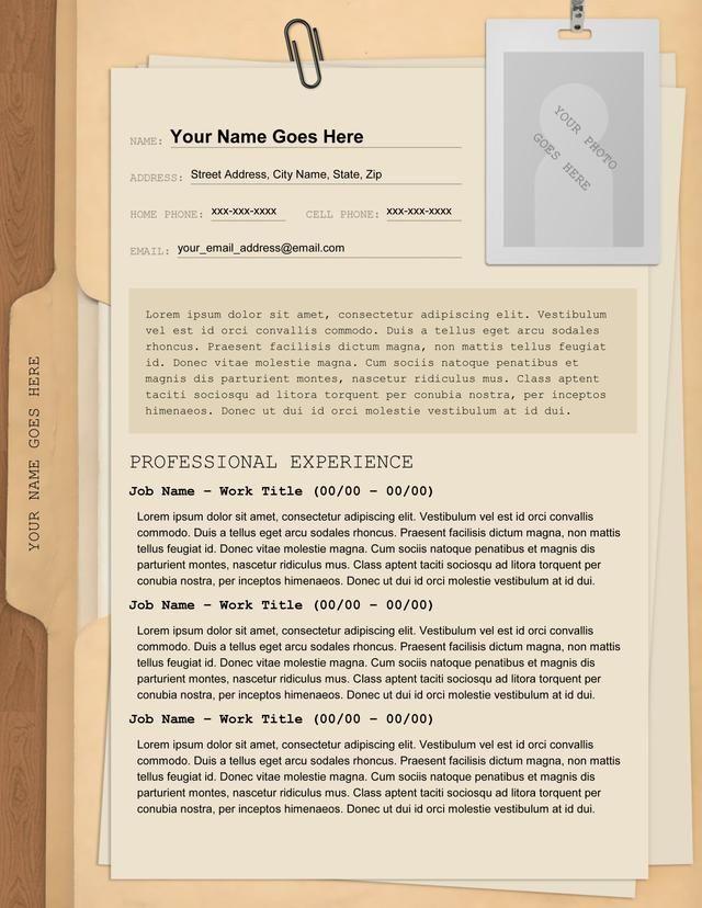 manila folder resume