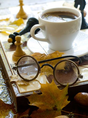 Autumn coffee by LADYWCoffe Time, Autumn Coffe, Plays Games, Cups Of Coffe, Autumn Leaves, Chess Boards, Coffee, Harry Potter, Old Games