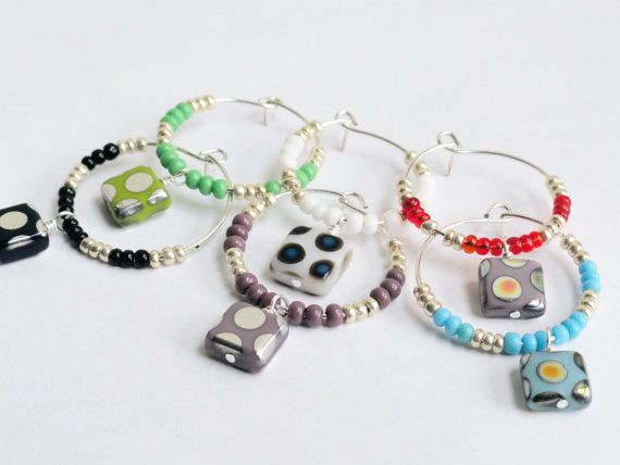 Square glass beaded wine charms x 6 multi by handmadeintoronto, $20.00