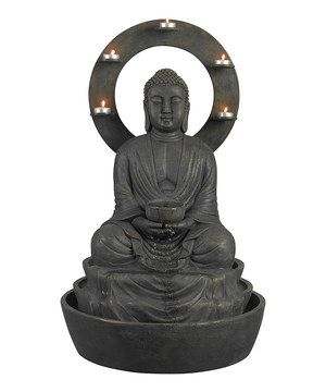 Add extra charm to any garden with the addition of this Buddha outdoor fountain. Its timeless design that incorporates serenely trickling water and soft candlelight gives it a peaceful vibe that traditional and transitional decorators will love.
