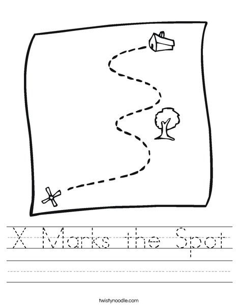 Pirate spot coloring pages ~ X Marks the Spot Worksheet - Twisty Noodle | X marks the ...