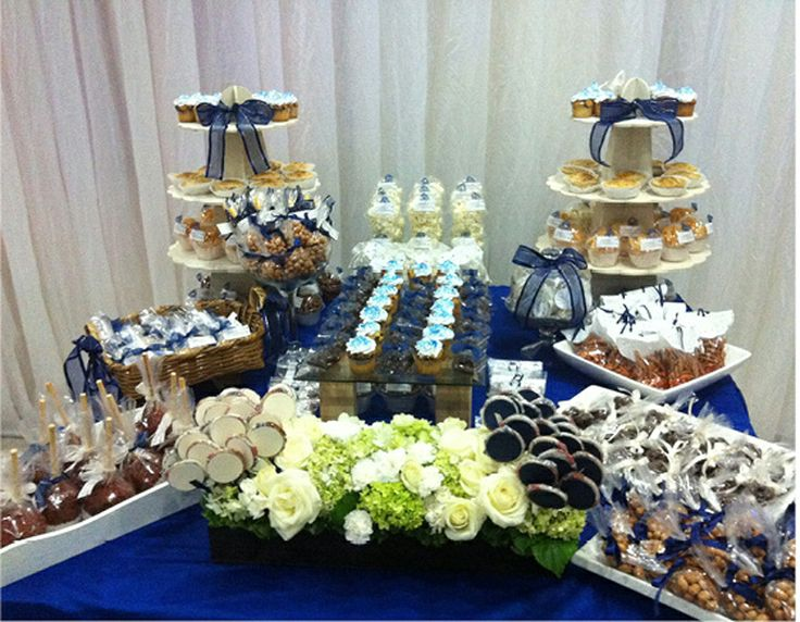 candy buffet table #boys #blue #cupcake
