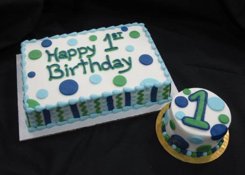 Blue and green birthday cakes | Select/Customize