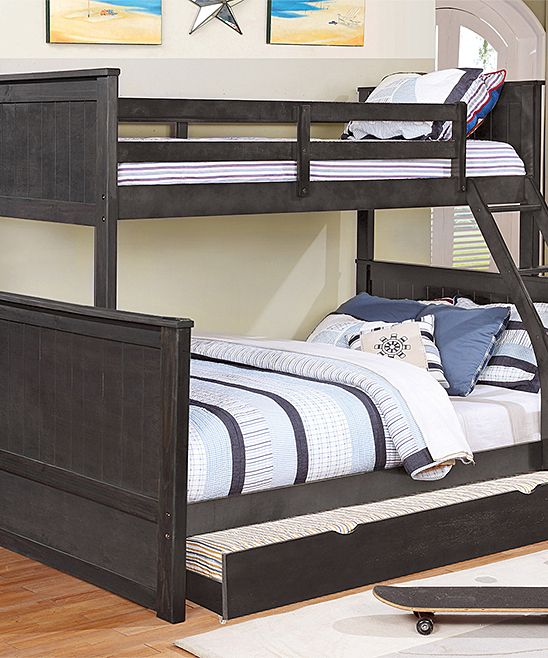 Charcoal Charlotte Twin-over-Full Paneled Trundle Bunk Bed