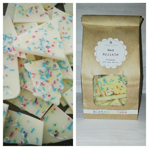 - Wax Brittle -  **Birthday Cake** Blended with rich vanilla, pure cane sugar and topped with a smooth and creamy white frosting. Hand Poured Soy Wax Melts.