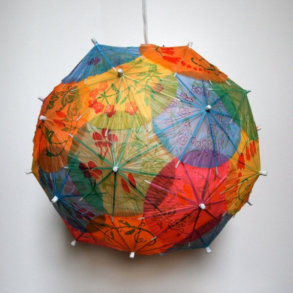 Lamp made from those little cocktail umbrellas