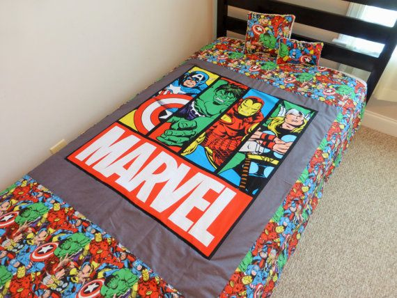 Twin Blanket Throw made from Avengers Marvel fabric, Super Heroes Quilt, Superhero bedding, kids twin bedding, Quilt made from Marvel fabric
