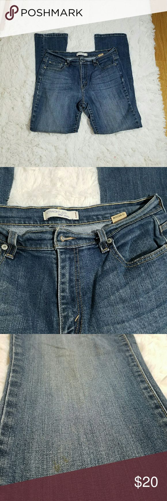 """HIGH WAISTED LEVIS JEANS Levis 505 jeans with light sand blasting in front and back. Size 12 straight leg. Has some dirt stains, see 3rd photo.  Measurements: 16"""", rise 10"""", and inseam 30"""" Levi's Jeans Straight Leg"""