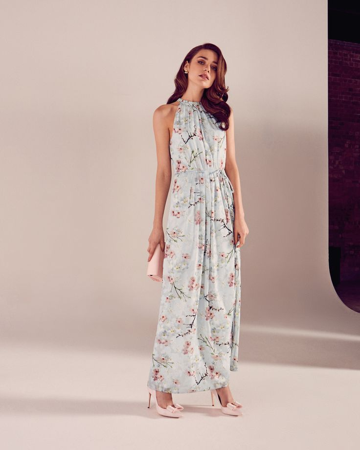 #WedWithTed @TedBaker #Contest - Oriental Blossom maxi dress - Light Gray | Dresses | Ted Baker