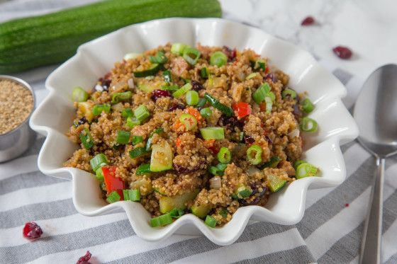 Quinoa...where have you been all my life?  This grain is a new discovery for me, and a wonderful one at that.  I like to have foods high in protein, and this one is packed.   This recipe can be used as a side, or as a meal.  Very tasty.  One of the best things about this wholesome concoction is that it is equally as good cold as it is warm.  The ham can be substituted with chicken or shrimp for a change of taste.  See recipe #16399 for toasting instructions.