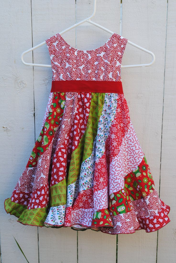"Christmas Peppermint Swirl Dress - Size 3T fits up to 21.5"" Chest - Candy Red and Green Owls Twirl Skirt Christmas Trees - Holiday Dress by ArtbyArnolds on Etsy"