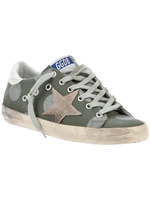 Military green and silver polka-dot calf leather Super Star sneaker from Golden Goose featuring a distressed appearance, lace-up front fastening and a rubber sole.