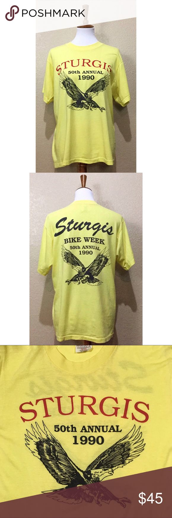"""VTG Sturgis Motorcycle Rally 50th Anniversary Tee Vintage 1990 Sturgis Bike Week Motorcycle Rally 50th Anniversary t-shirt from Hazelwood Southwest Designs. No stains or tears. Well loved, but graphics/lettering are still clean & bright (Upon close inspection back """"Sturgis"""" has light cracking). Offers welcome.   • Gender neutral.  • 50/50 Poly/Cotton Blend  • Length: 26""""  • Pit to Pit: 19 3/4"""" Vintage Tops Tees - Short Sleeve"""