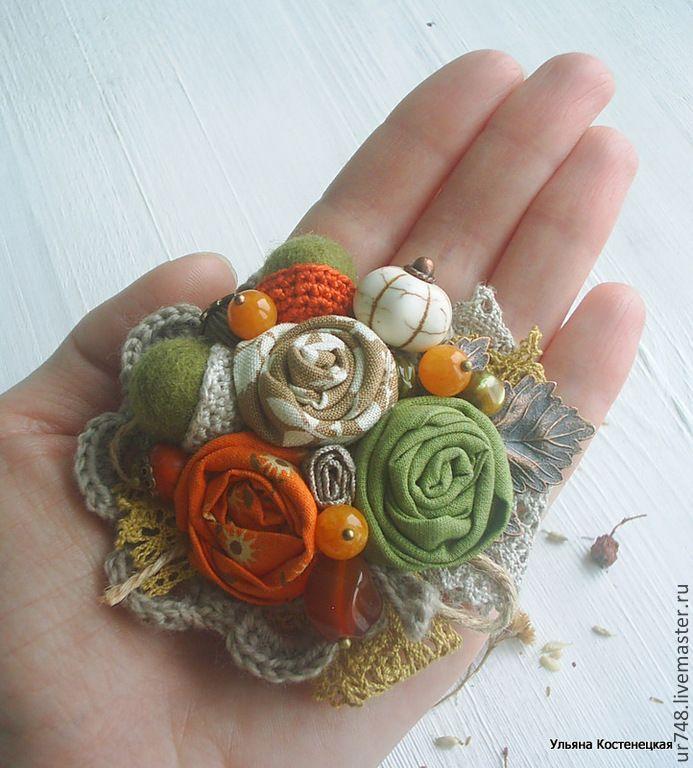 """Купить Брошь """"Прогулка в парке""""(валяние,вязание,натуральные камни,текстиль) - рыжий, зеленый, оранжевый, клен"""