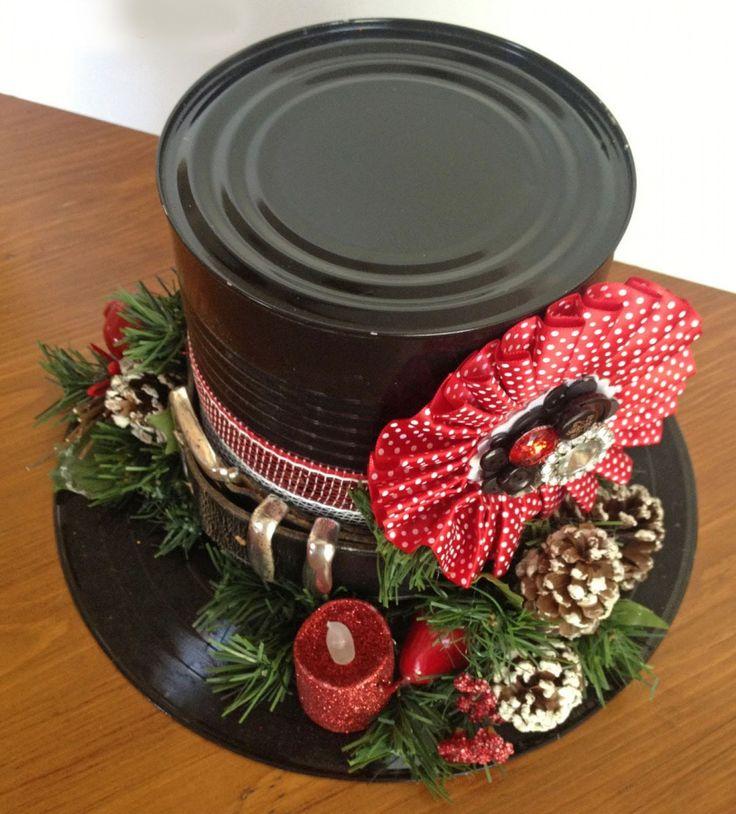 Realizaremos en esta ocasión, un sombrero para muñeco de nieve con material reciclado. Una linda forma de reciclar. Materiales necesarios: 1 Disco de vinyl Adornos navideños Pistola de pegamento caliente Cinturón negro Lata de conservas (pintado con spray negro) Maya plástica o cinta ancha. Paso 1: Con silicón caliente pega el bote ya pintado de …