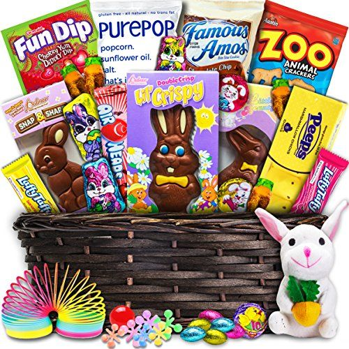 Deluxe Easter Basket (30ct) - Premade and Shrink-Wrapped Kids Boys Girls - Filled with Candy Chocolate Toys and More!!