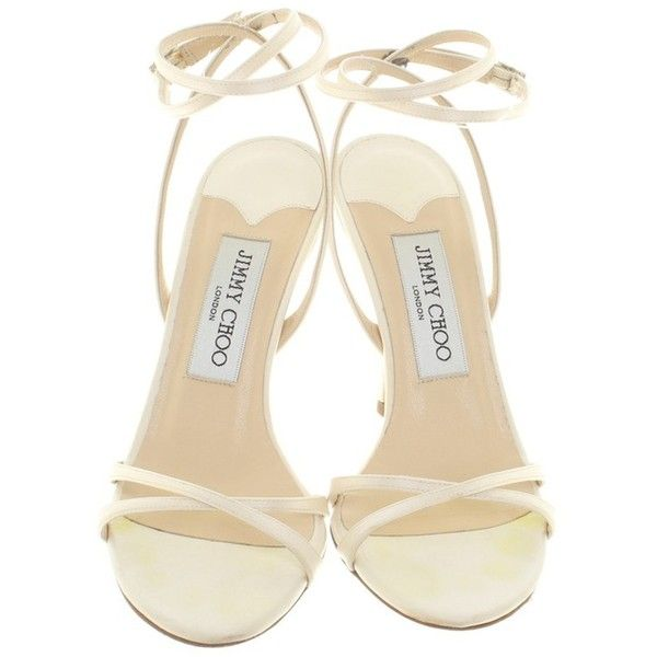 Pre-owned Sandals in cream white ($305) ❤ liked on Polyvore featuring shoes, sandals, jimmy choo, cream sandals, white strappy heeled sandals, strap heel sandals and white colour shoes