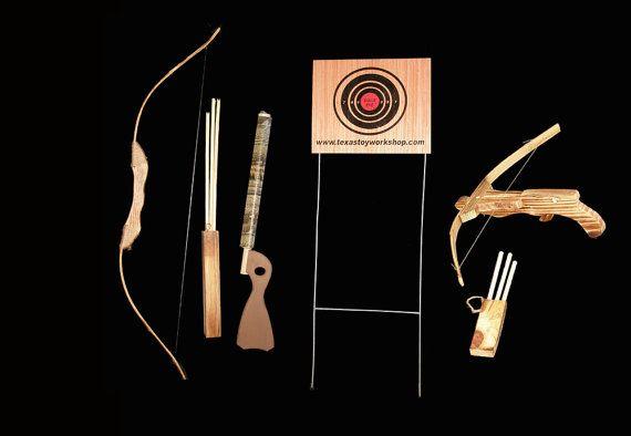 Children's Wood Bow and Arrow Archery Set popgun by TXToyWorkshops