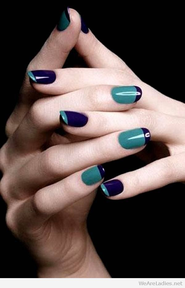 Blue and mint nail art
