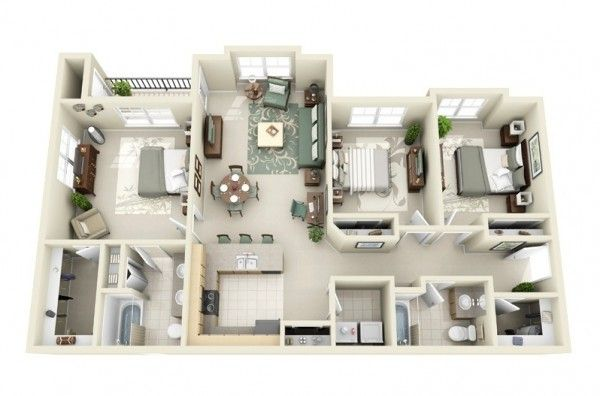 3 bedroom house layouts: center bedroom to be a large study space so it has enough space to store all the stuff I need.