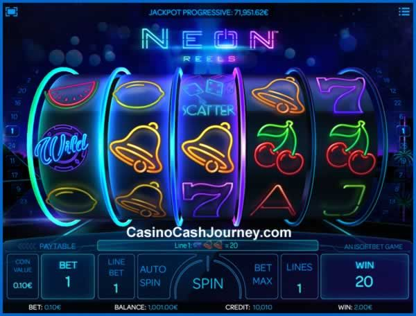 Neon Reels is a 25-line and 5-reel video slot from iSoftBet. It'll blow your mind with exceptional 3D cinematic effects and the progressive jackpot that it comes with too. Look for 2x Diamonds on reel 1 to win free re-spins and enjoy the Free Spins bonus with Wild multipliers that go up to 8x!  More this way...   http://blog.casinocashjourney.com/2015/08/22/neon-reels-slot-by-isoftbet/