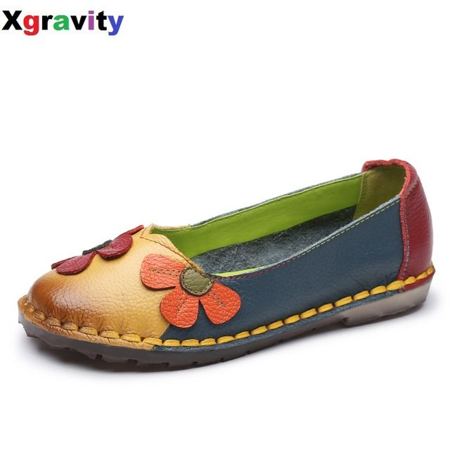 Amazing Deal $15.88, Buy Xgravity Summer Autumn Fashion Flower Design Round Toe Mix Color Flat Shoes Vintage Genuine Leather Women Flats Girl Loafer A006