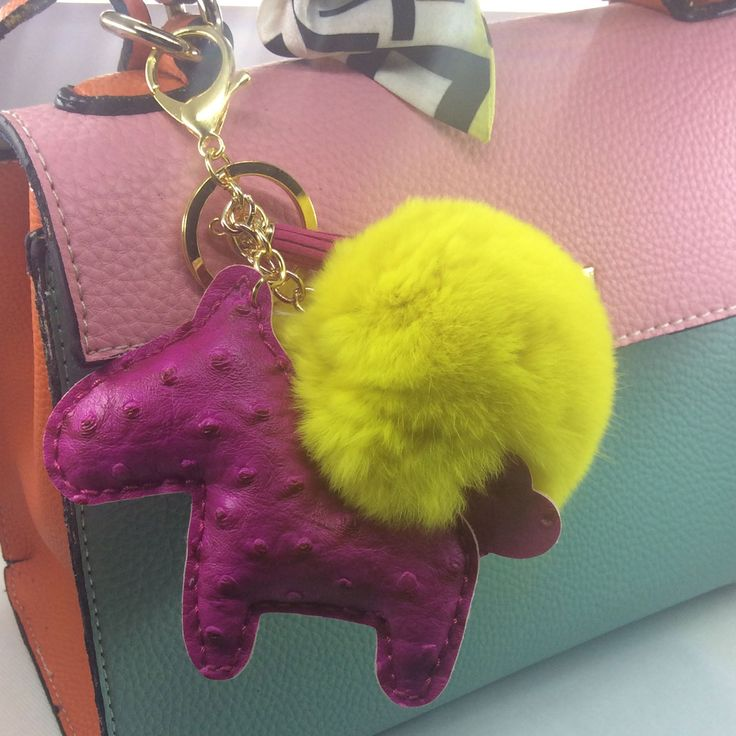 fur ball horse key chains wholesale