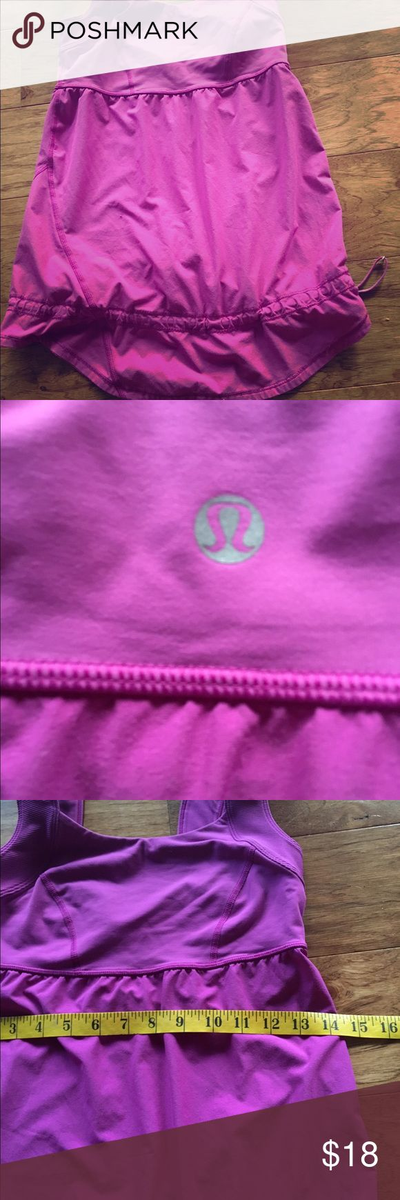Lululemon hot pink Purple  loose tank top 6 Great PRE used purple loose adjustable fit with the silver gadgets to adjust the fit and bunch up the bottom sz 6 comfy the best fit snug lululemon athletica Tops Tank Tops