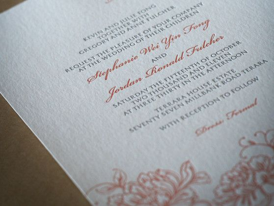Letterpress wedding stationery. 'Love Blossom' floral design. Letterpress printed in two colours on our stunning cotton 300gsm paper.